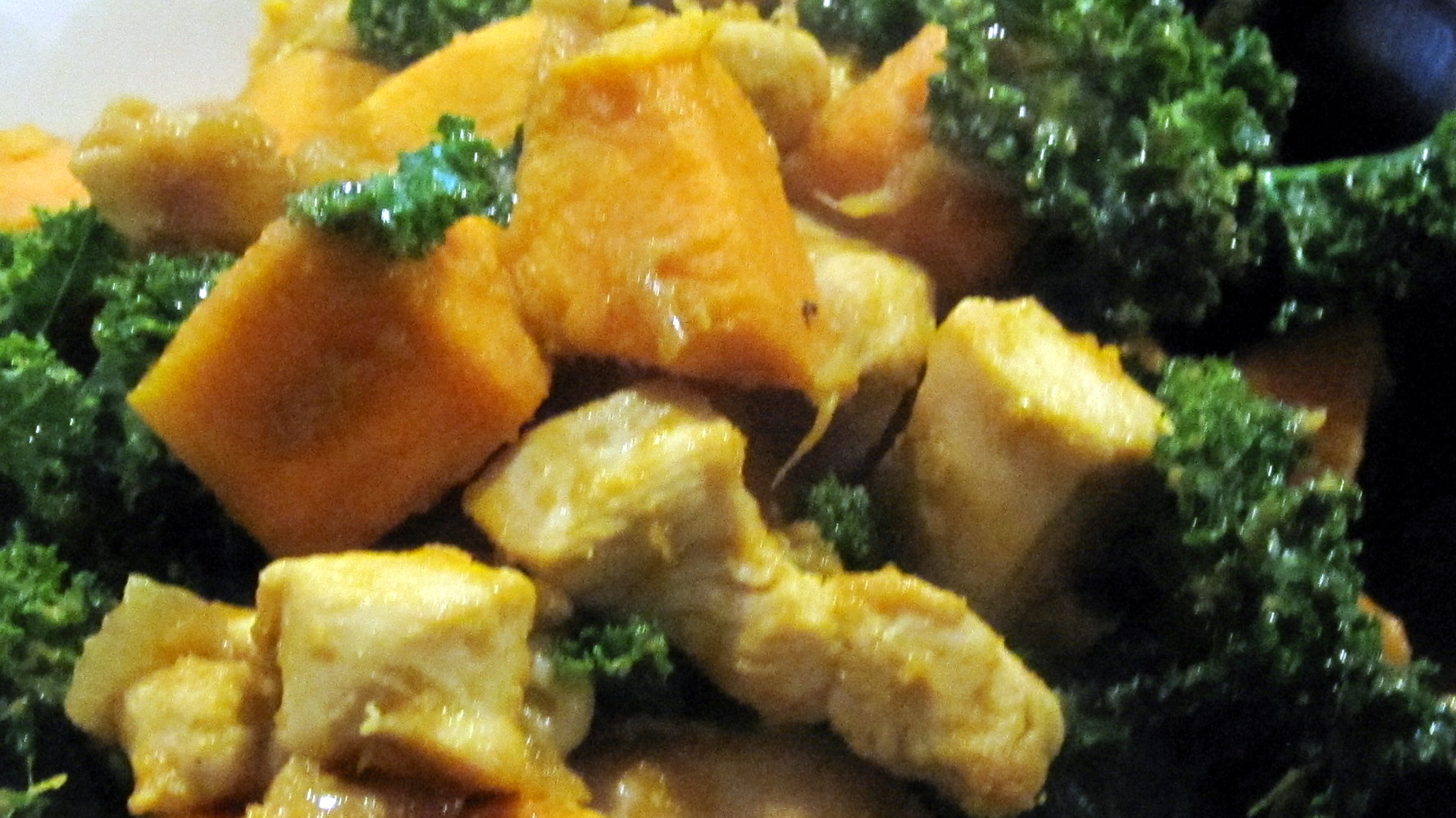 """Recipes from a Hat: Spiced Sweet Potato """"Rissoto"""" with Chicken and Kale"""