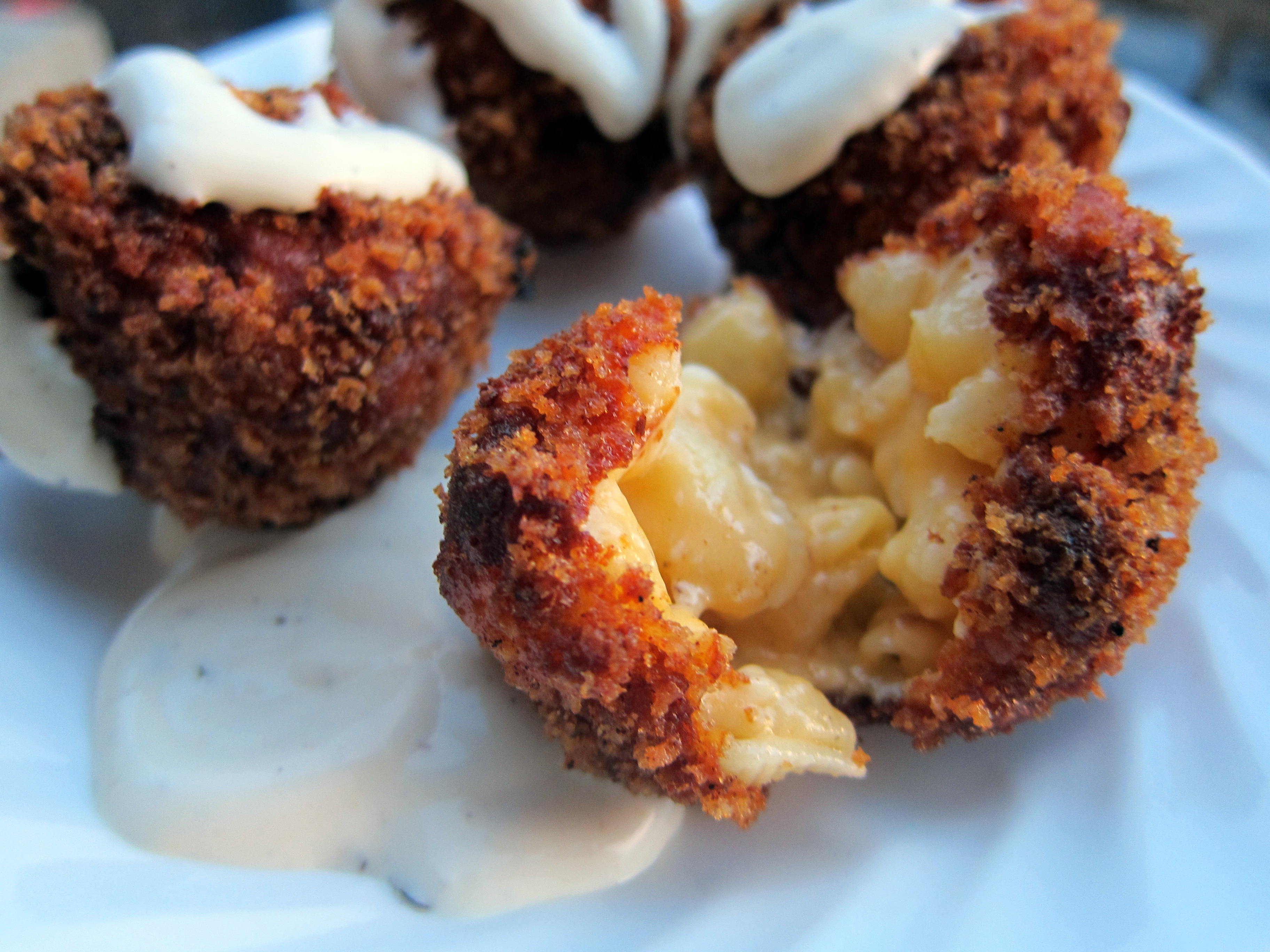 Fried Mac & Cheese Balls Dipped in Ranch Dressing [OC][OS] 3648 x 2736 ...