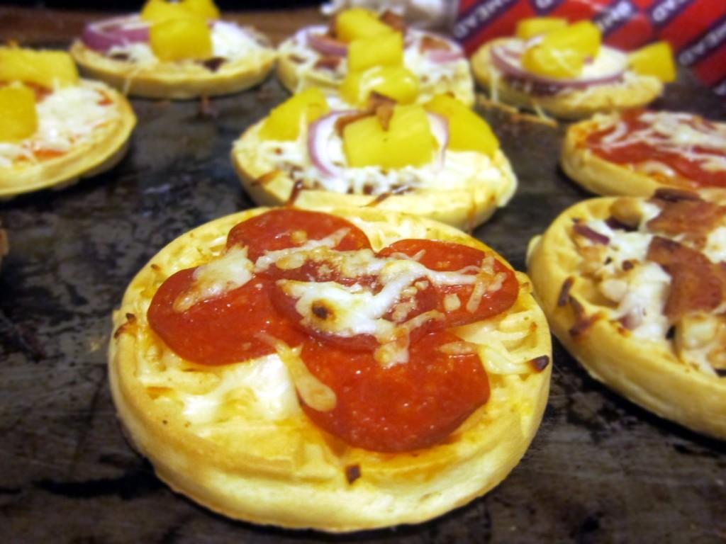 pepperoni pizza waffle